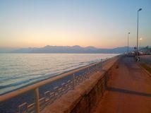 WATERFRONT AT SUNSET. Scenery of sea tramontoripreso the waterfront of Salerno, where are deduced colors and special effects Stock Images