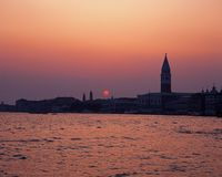 Waterfront at sunset, Venice, Italy. Stock Photo