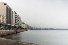 The waterfront of Thessaloniki, Greece, under a cloudy sky Stock Image
