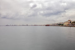 The waterfront of Thessaloniki, Greece, under a cloudy sky Royalty Free Stock Photo