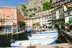 Waterfront in Town Limone Sul Garda, Lake Garda Royalty Free Stock Images