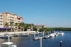 Waterfront tropical marina Royalty Free Stock Photography