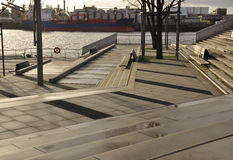 Waterfront urban design, embankment Hamburg harbour, Germany Royalty Free Stock Photo