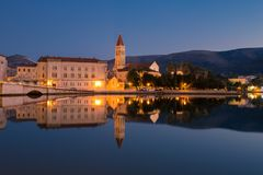 Waterfront view of beautiful Trogir. Croatia - Unesco World Heritage Site. Image take before sunrise, at the blue hour Royalty Free Stock Photo