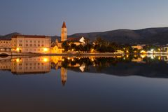 Waterfront view of beautiful Trogir. Croatia - Unesco World Heritage Site. Image taken before sunrise, at the blue hour Royalty Free Stock Images
