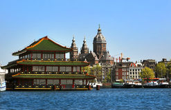 Waterfront view on the center city of Amsterdam Royalty Free Stock Images