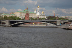 Waterfront view Moscow downtown historical buildings bridge Moskva river Royalty Free Stock Images