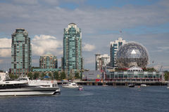 Waterfront view skyscrapers modern buildings Vancouver Canada stock images