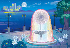 Waterfront views with a fountain with illumination. The illustration beautiful evening landscape with a fountain with lighting and sea views Stock Image