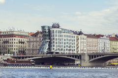 Waterfront views and towers Dancing House with the Vltava Royalty Free Stock Photography