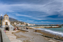 Waterfront views of Yalta in the winter sunny day Stock Photo