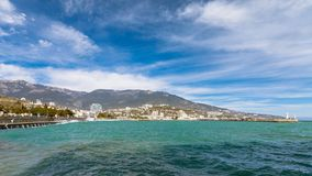 Waterfront views of Yalta in the winter sunny day Royalty Free Stock Photography