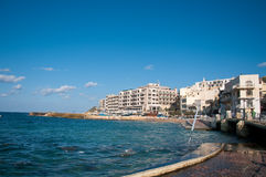 Waterfront Village Marsalforn The Island Of Gozo, Malta. Waterfront Village Marsalforn The Island Of Gozo Stock Photo