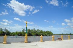 Waterfront walkway at Sothon temple. In chachoengsao Thailand stock photo