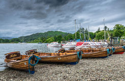 Wooden boats on the shores of Lake Windermere Stock Images