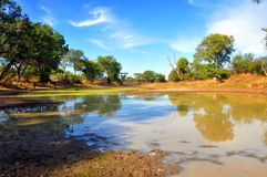 Waterhole in the Bubye Valley Conservancy - Zimbabwe Stock Images