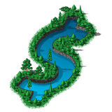 Waterhole dollar sign with trees and plants around. Vector water reservoir in the shape of a dollar sign Royalty Free Stock Image