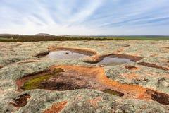 Free Waterholes Full Of Rain Water On Top Of A Granite Rock. Aboriginal People Relied On Rock Holes As Water Sources. Eyre Peninsula, Stock Image - 203397091