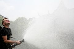 Watering. Man wearing black clothes spraying crops with lagre hose Stock Image