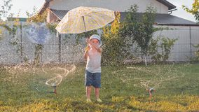 Watering background. Children playing on the yard royalty free stock photography