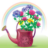 Watering with bouquet of wildflowers Royalty Free Stock Photo