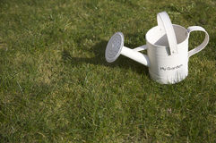 Watering can. Side view of watering can on grass with words my garden and copy space stock photography