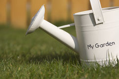 Watering can. Side view of watering can on grass with words my garden stock image