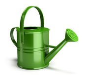 Watering can. Shiny green watering can. 3d image.  White background Royalty Free Stock Photo