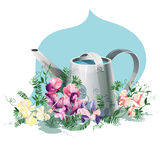 Watering-can. Metallic watering-can with sweet pea flowers Royalty Free Stock Images