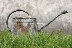 Watering Can. Old, rusty watering can standing in grass Royalty Free Stock Images