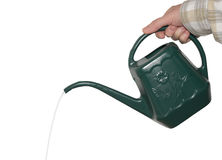 Watering Can. Woman holding a green watering can royalty free stock photos