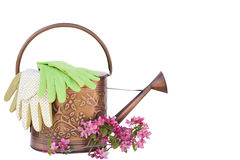 Watering can. With mother and child gardening gloves and flowers isolated on a white background. Room for text Royalty Free Stock Images