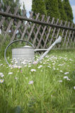 Watering can against wooden fence Royalty Free Stock Image