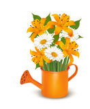Watering can with a bouquet of flowers. Stock Photography