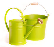 Watering can and bucket on white background Stock Photography
