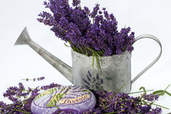 Watering Can, Candle and Lavender Stock Photography