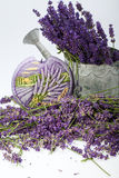 Watering Can, Candle and Lavender Royalty Free Stock Photo