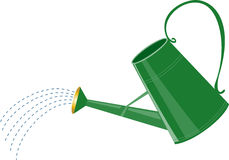 Watering can. A cartoon green watering can with water sprinkler Royalty Free Stock Photo
