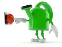 Watering can character pushing button. On white background Stock Photography