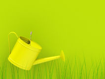 The watering can. 3d generated picture of a yellow watering can with green background Stock Photography
