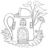 Watering can house handdrawn cartoon isolated royalty free illustration