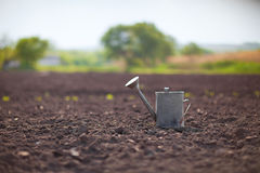 Watering can on the field Royalty Free Stock Images