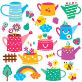 Watering can flower pot clip art set Royalty Free Stock Images