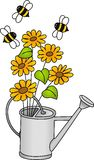 Watering can with flowers and bees Stock Images