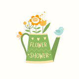 Watering can with flowers, bird and butterfly, flower shop logotype vector template, logo design Stock Images