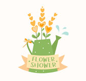 Watering can with flowers, ribbon, dragonfly and water drops, flower shop logotype vector template, logo design.  Stock Photo