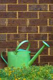 Watering Can. A Watering can in front of a brick wall Stock Photography