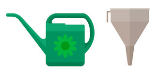 Watering can and funnel Royalty Free Stock Image