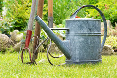 Watering can and garden tools Stock Photos
