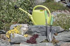 Watering can and garden tools Stock Photography